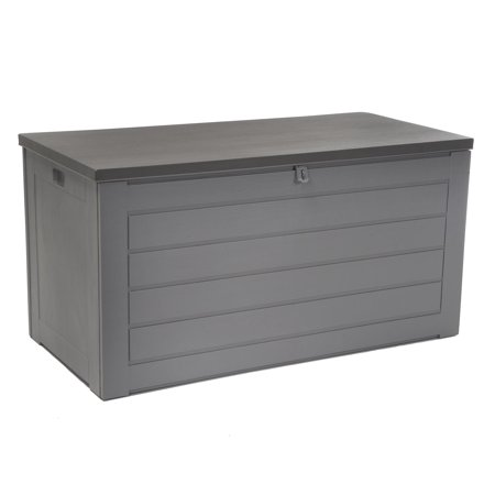 Extra Large 180 Gallon Deck Box, Gray with Dark Gray Lid