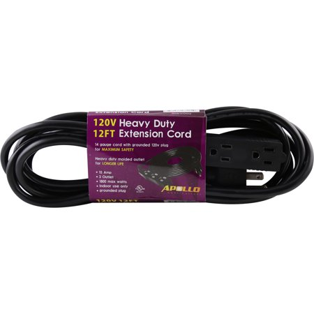 Apollo Horticulture 14 Gauge 120V Heavy Duty 12ft Extension Cord with 3 Outlet Power -