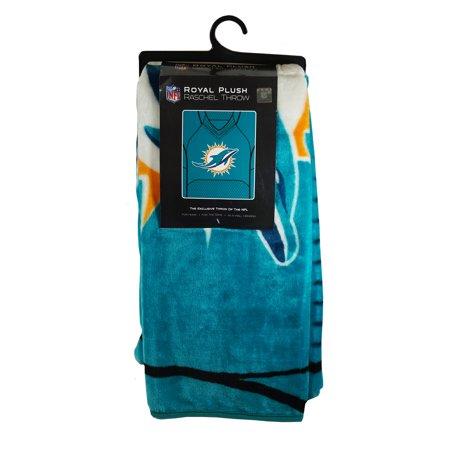Miami Football Dolphins 50x60 inch NFL Jersey Design Royal Plush Raschel Throw Blanket
