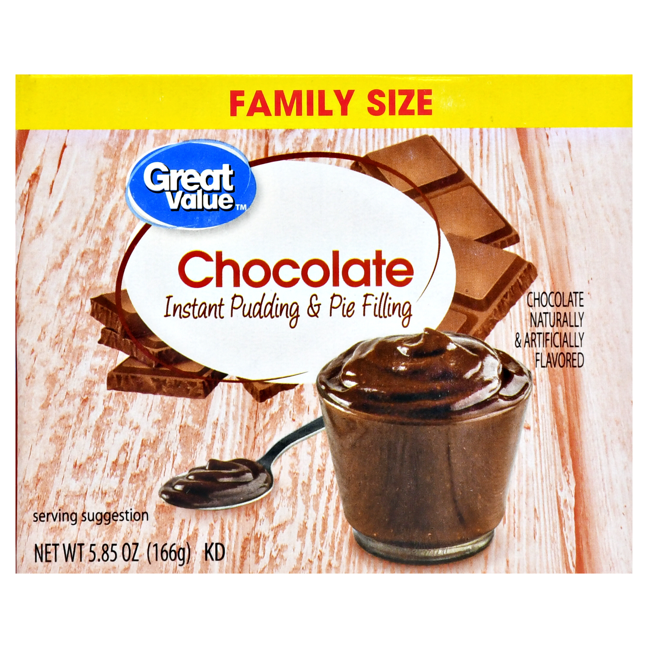 Great value instant pudding & pie filling, family size, chocolate, 5.85 oz