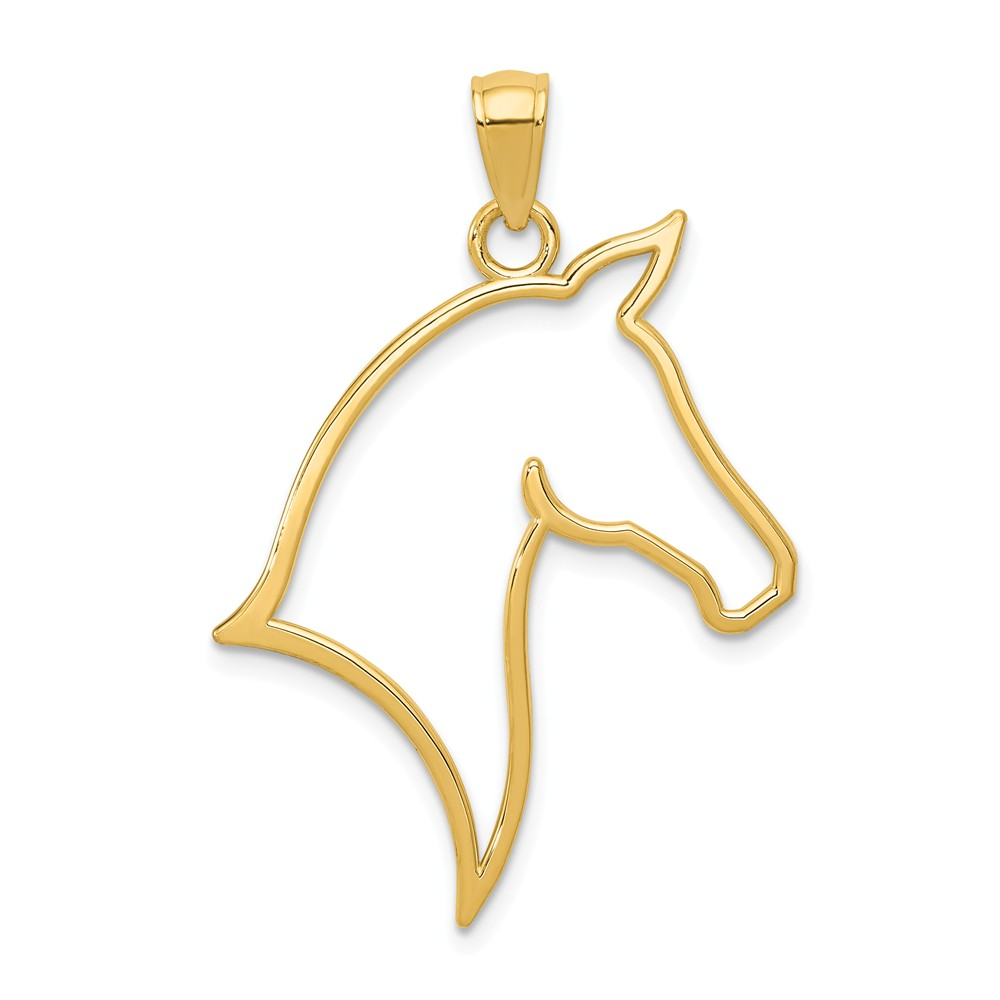 14k Yellow Gold Polished Cut Out Horse Head Pendant