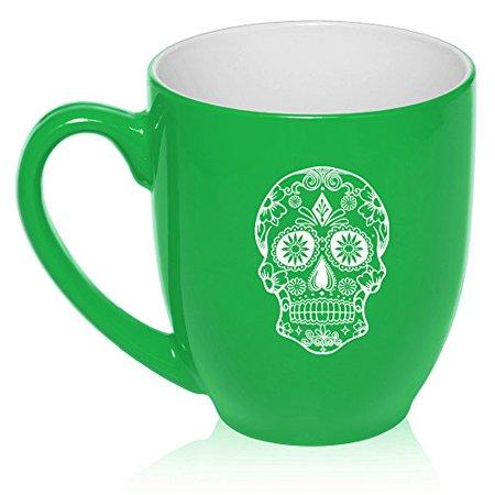 16 oz Large Bistro Mug Ceramic Coffee Tea Glass Cup Sugar Candy Skull (Green) (Sugar Skull Glasses)