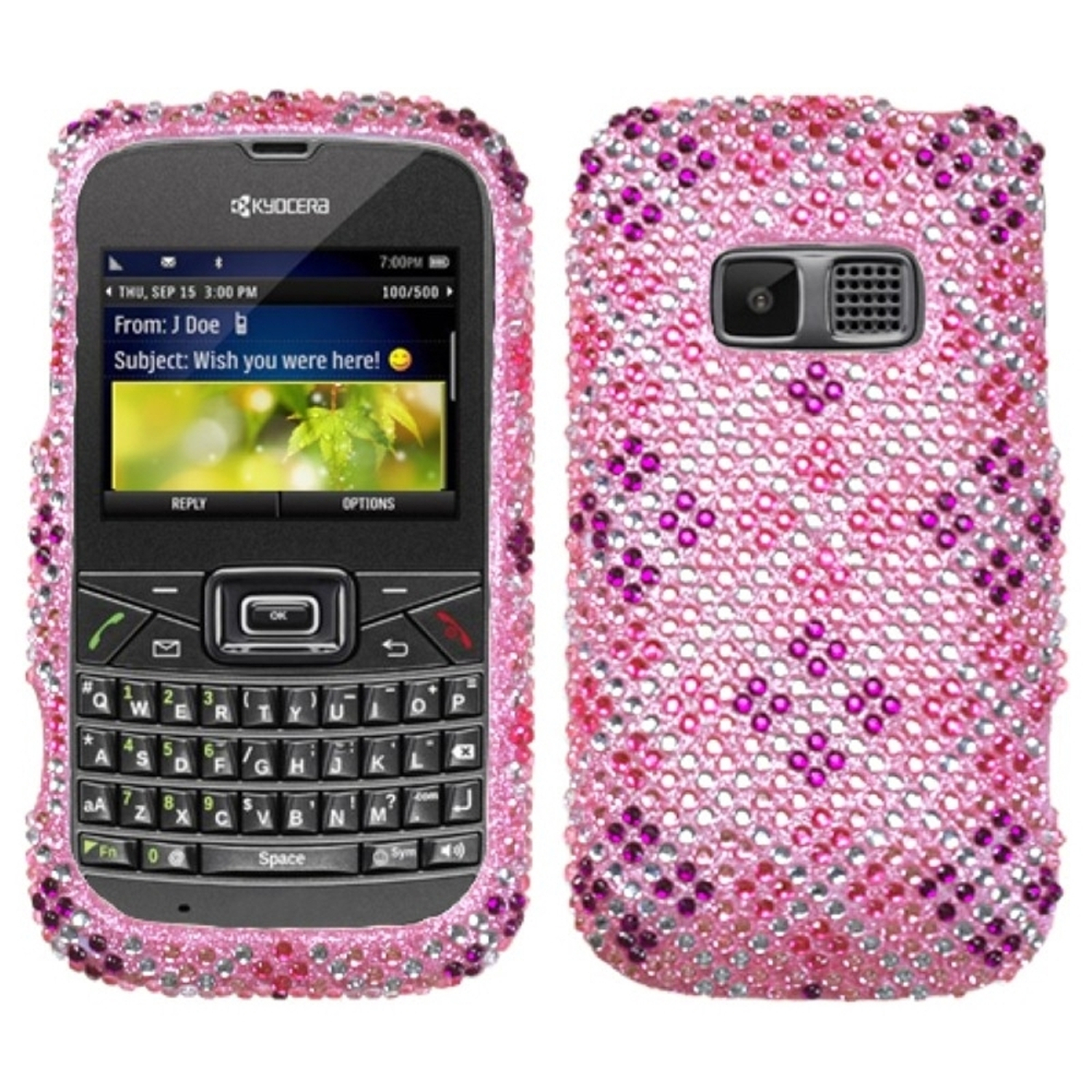 Insten Plaid Hot Pink/Purple Diamante Phone Case Cover For KYOCERA S3015 Brio