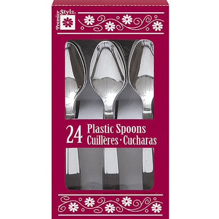 Small Plastic Spoons (Plastic Spoons, Silver, 24ct)