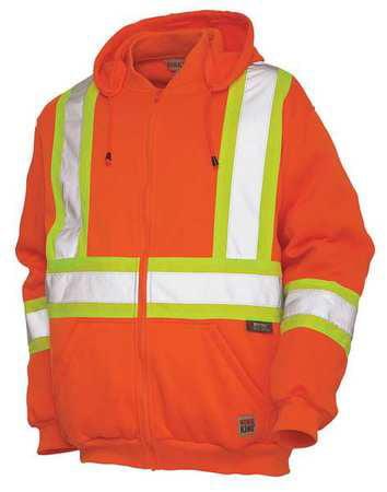 WORK KING Hi-Vis Hooded Sweatshirt,4XL,Orange S49431