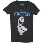 Frozen Logo Dancing Olaf Disney Animated Movie Mighty Fine Juniors T-Shirt Tee