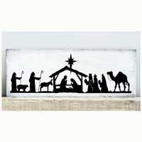 "Nativity Scene Vinyl Lettering Wall Decal Sticker (6""H x 18.5""L, Black)"