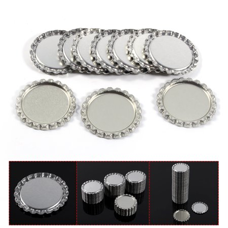 Sonew 100pcs Flat 1  Silver Color Tinplate Bottle Caps Lids Cover without Hole, Bottle Cork, Seal - image 2 of 7