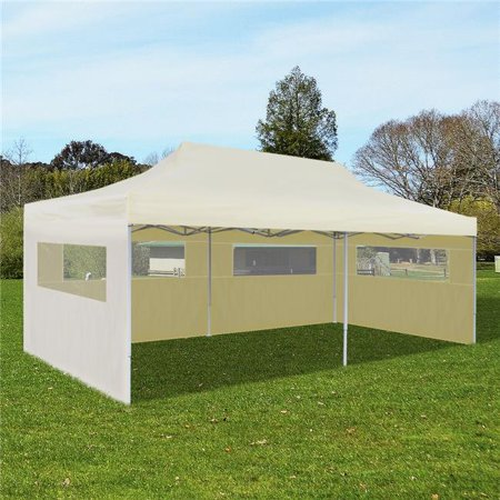 Online Gym Shop CB18731 Outdoor Foldable Pop-Up Party Tent, Cream - 10 x 20 ft.