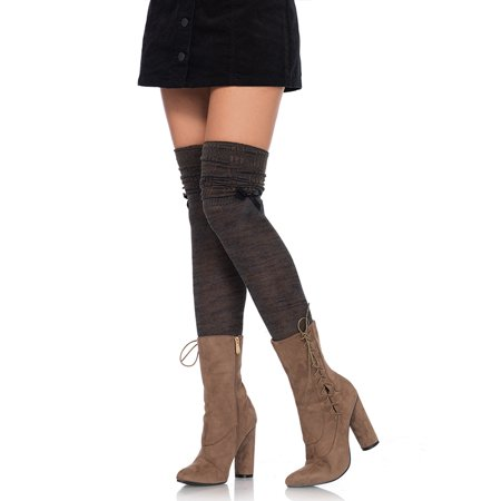 - Leg Avenue Marled Knit OVer the Knee Scrunch Socks with Mini Bow Accent