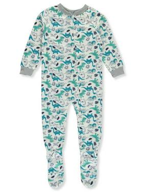 Mon Petit Boys' Printed Flannel 1-Piece Footed Pajamas