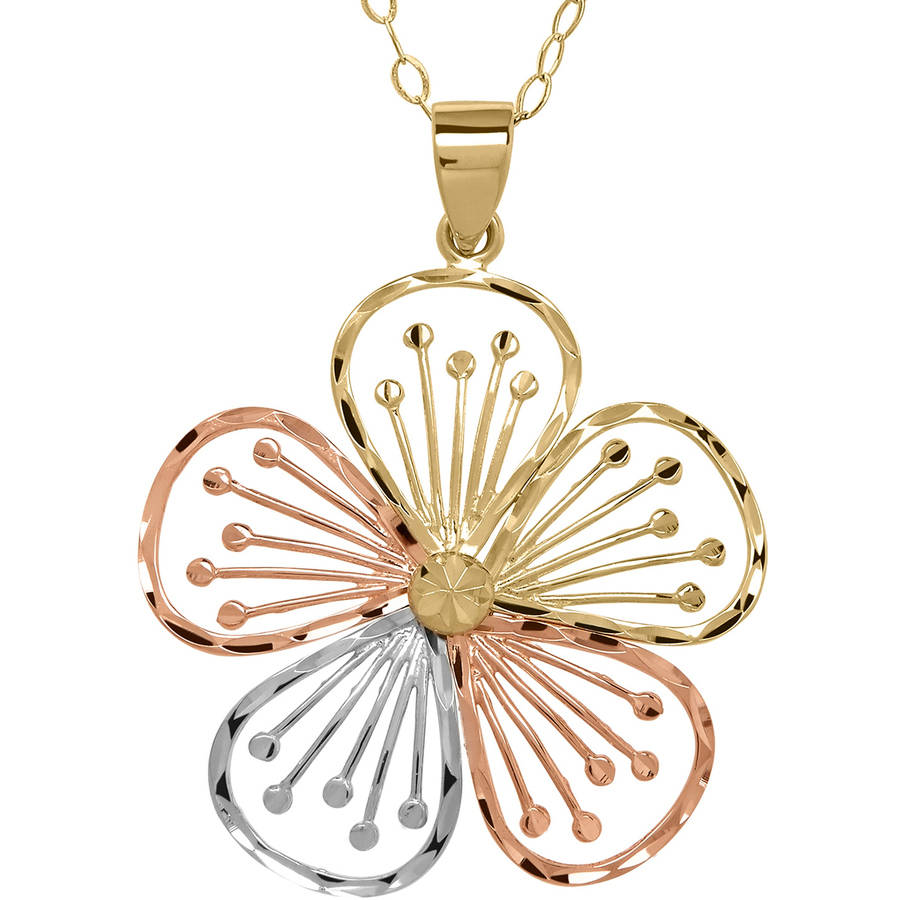"Simply Gold 10kt Yellow, Pink and White Gold Flower Pendant, 18"" by Richline Group Inc"