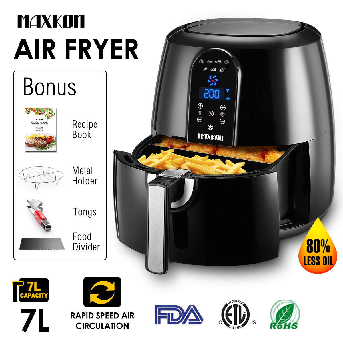 Maxkon XL Air Fryer 7-in-1 Electric 1800W, 5.8 Qt Basket Capacity, LCD Touch Screen Timer & Temperature Control,80% Oil Less, Includes Tongs, Metal Holder, Food divider and Recipe Book, Black & White