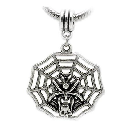 Halloween Spider on Web Dangle Charm European Bead Compatible for Most European Snake Chain - Polymer Clay Halloween Charm Bracelet