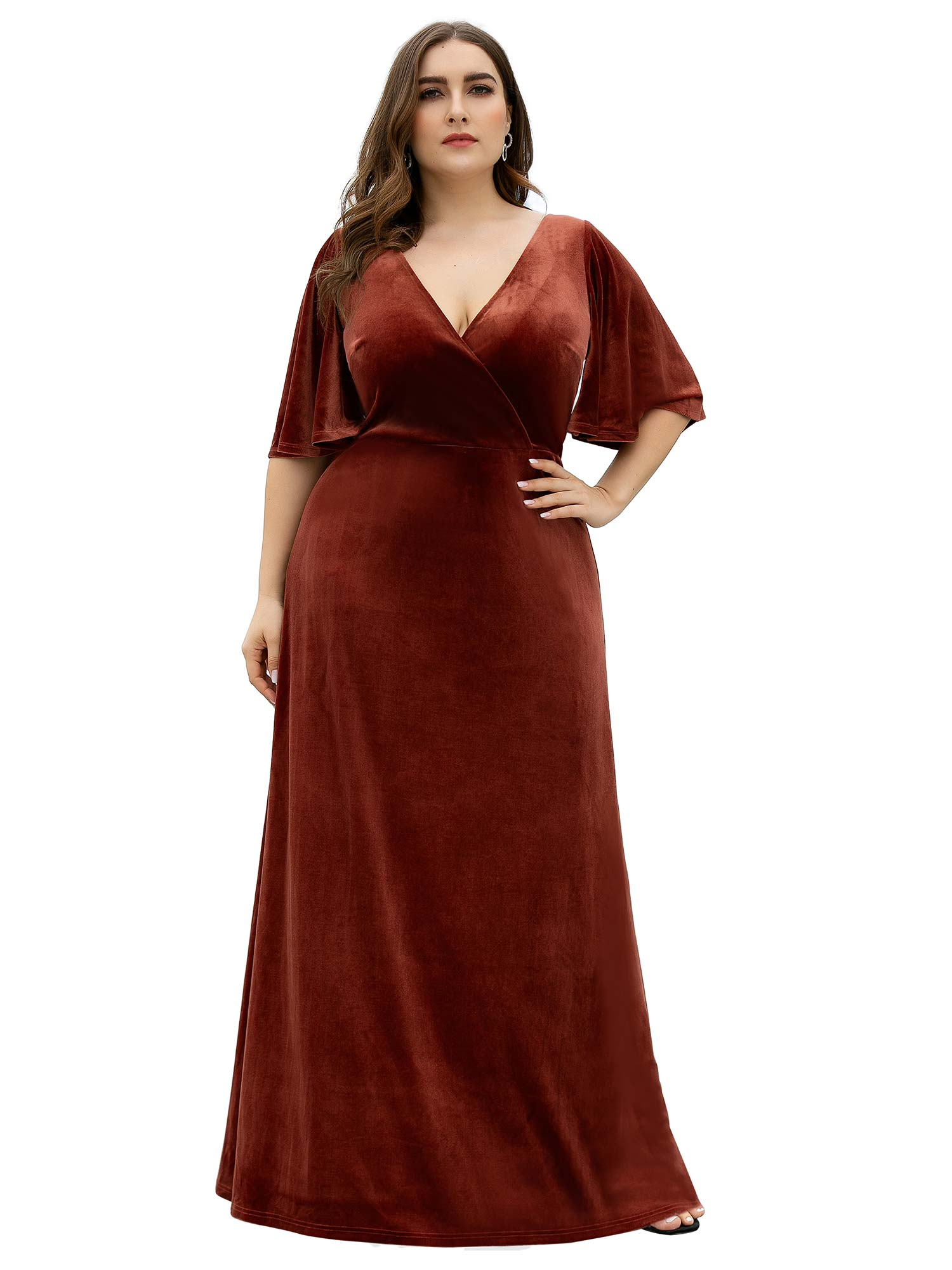Ever Pretty Ever Pretty Women S A Line V Neck Wrap Velvet Dress Long Formal Plus Size Evening Dress 08612 Maroon Us20 Walmart Com Walmart Com
