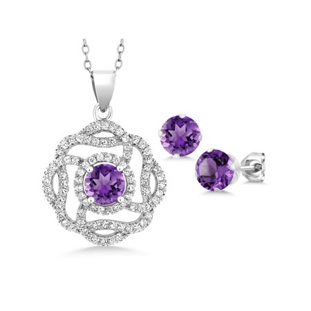 Purple February Gem - Purple Amethyst 925 Sterling Silver Gemstone Pendant Earrings Set 4.16 Ct Round