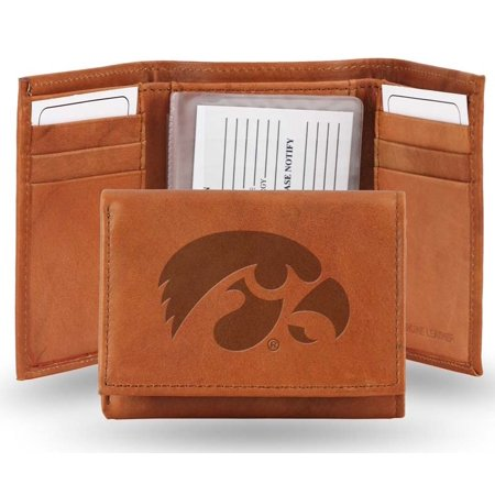 - Iowa Embossed Leather Trifold Wallet (Manmade Interior)