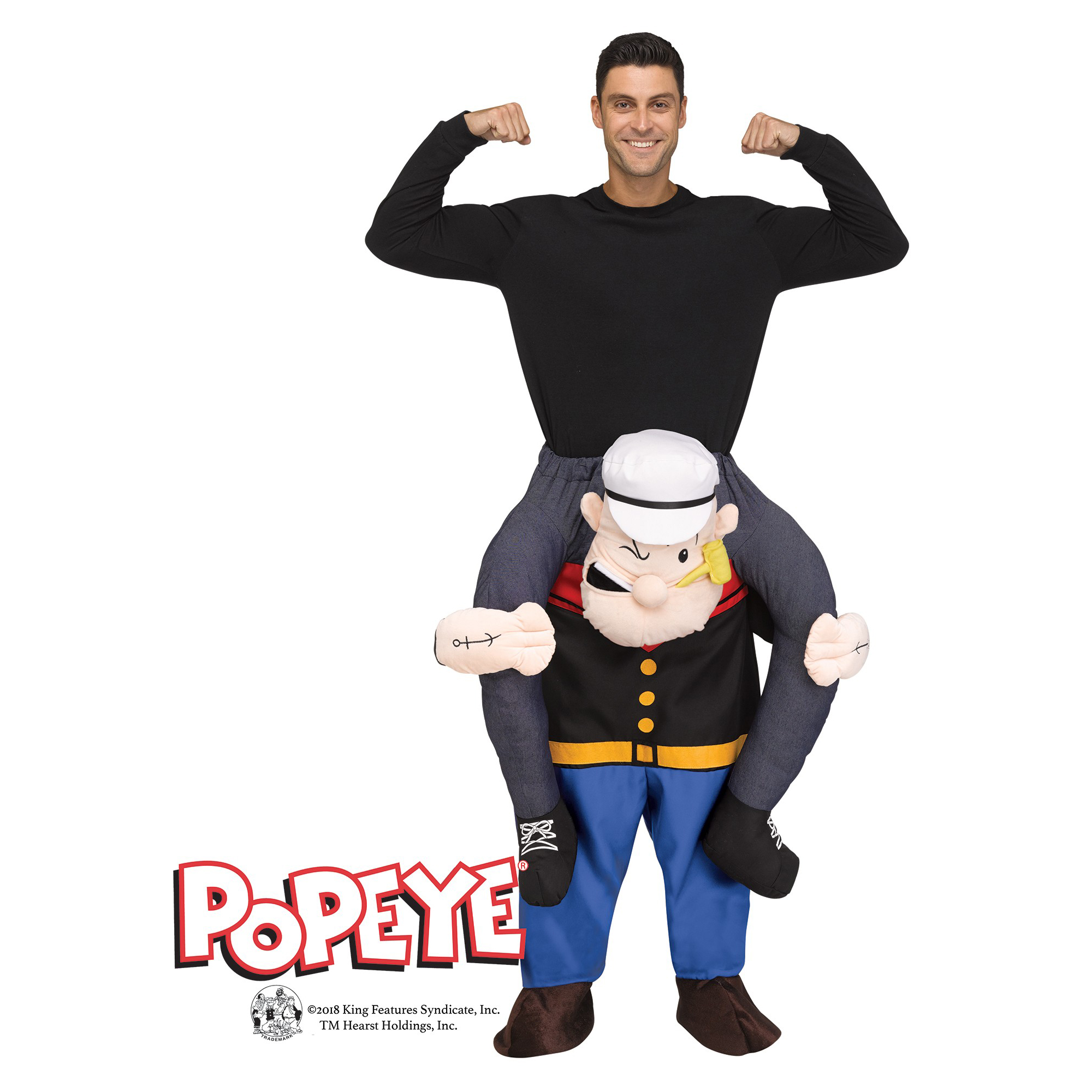 Fun World Carry Me Popeye Humorous Men Costume, One-Size, Blue Black Red