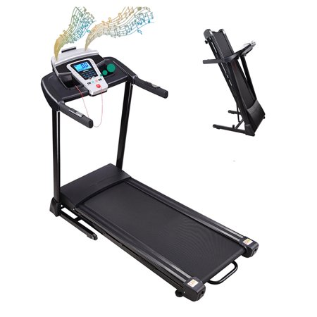 2.25HP Electric Folding Treadmill - Easy Assembly Fitness Motorized Running Jogging Machine with Speakers for Home