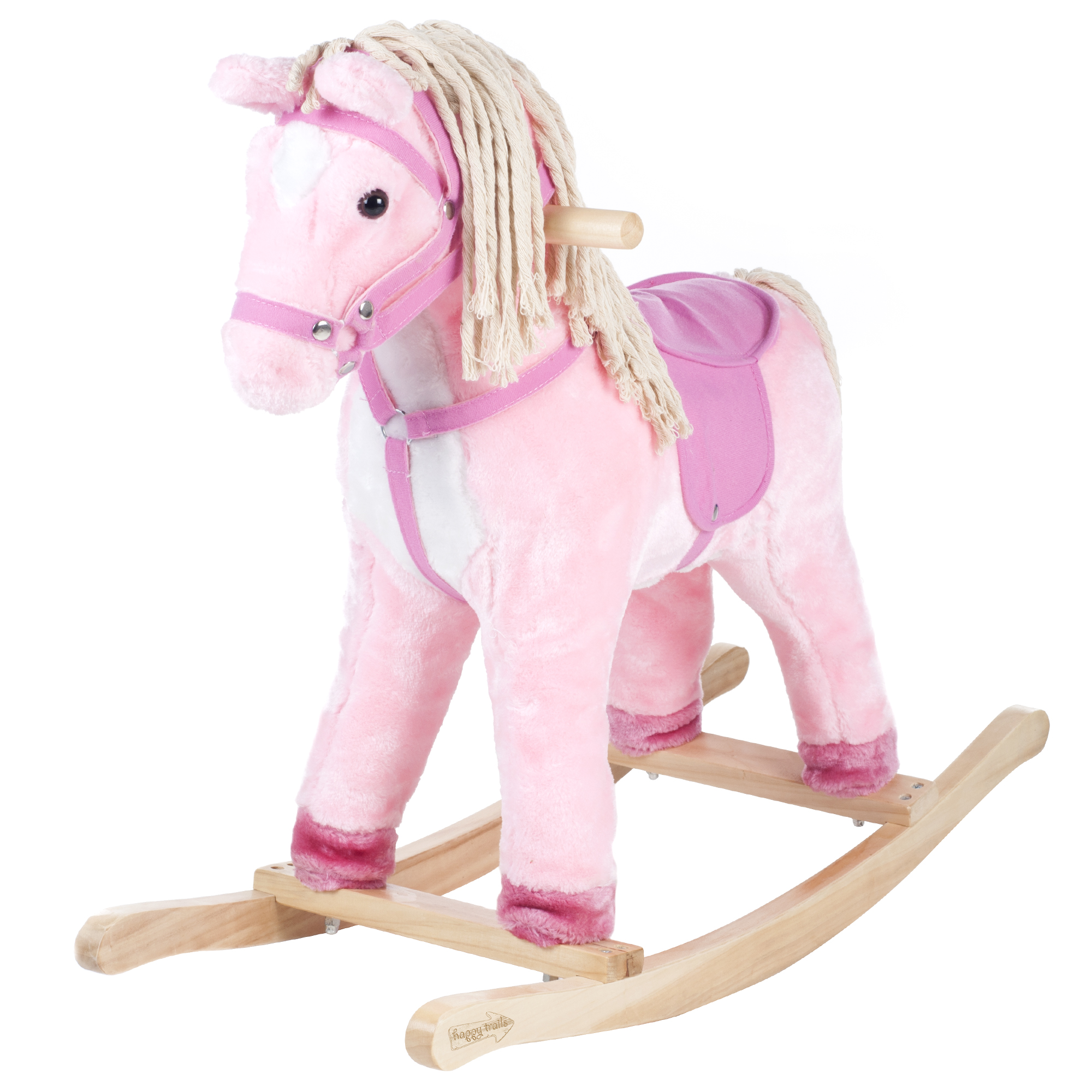 Pink Patty the Pony Rocking Horse Animal Ride on Toy with Cotton Hair & Tail by Happy Trails