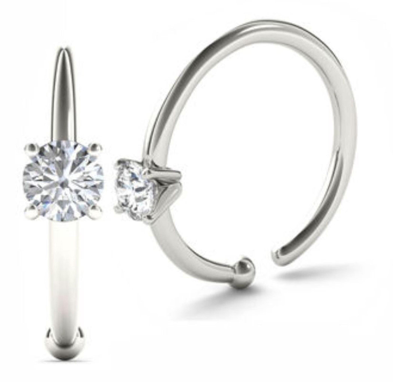 Jewelmore 0 02ct Diamond Nose Ring Hoop 14k White Gold Or