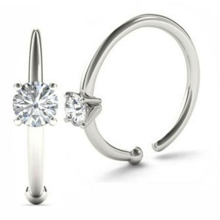 0.02ct Diamond Nose Ring Hoop - 14K White Gold or Yellow Gold