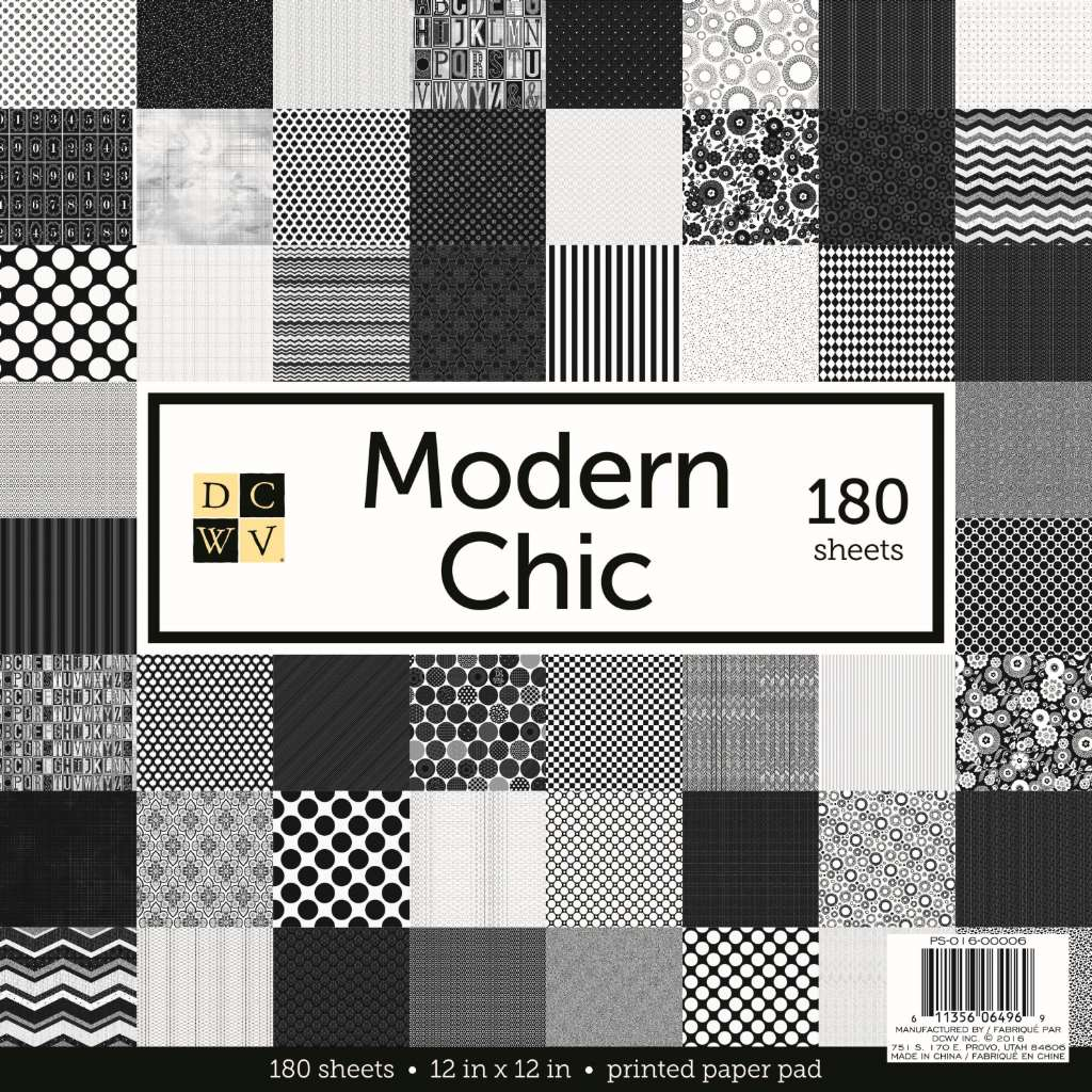 """American Crafts DCWV 12"""" x 12"""" Preppy Princess Cardstock - Neutral Geometric Prints, Scrapbooking Embellishment - 180 Sheets - Black and White"""