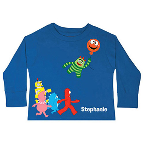 Personalized Yo Gabba Gabba! Balloon Getaway Royal Blue Toddler Boy Long-Sleeve Tee