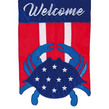 Evergreen Applique Garden Flag - Americana Crab - Welcome Applique Garden Flag