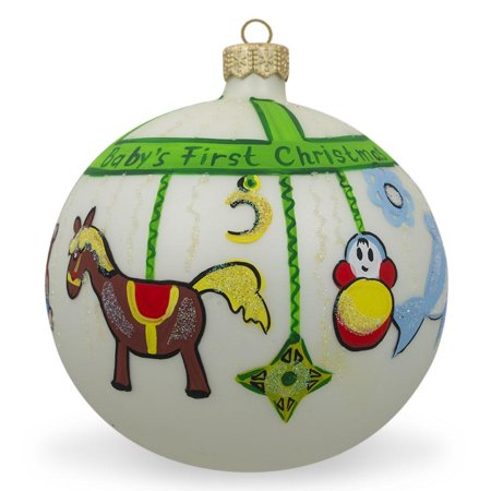 BestPysanky Toy Mobile Glass Ball Baby's First Christmas Ornament 4 Inches ()
