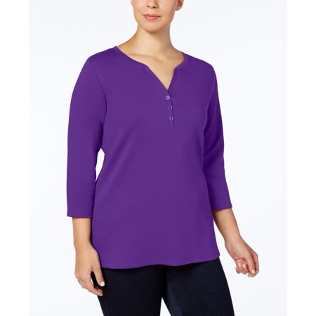 Karen Scott - Cotton Henley Top - Plus - 2X