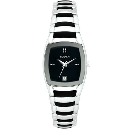 Women's Silver-Tone Black Sunray Dial Rubber Integrated Bracelet Watch