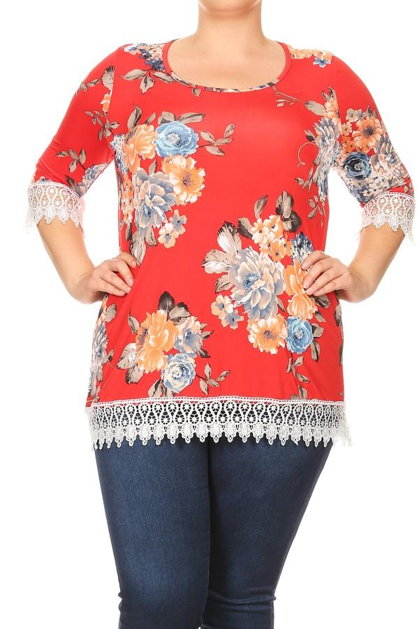 Plus Size Women's Lace Trim Print Top