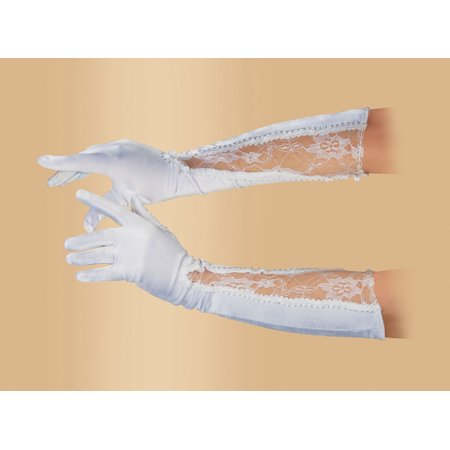 Star Power Women Fancy Satin Lace Below the Elbow Gloves, White, One Size (18