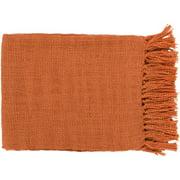 "59"" x 51"" Warm Weaves Burnt Orange Fringed Throw Blanket"