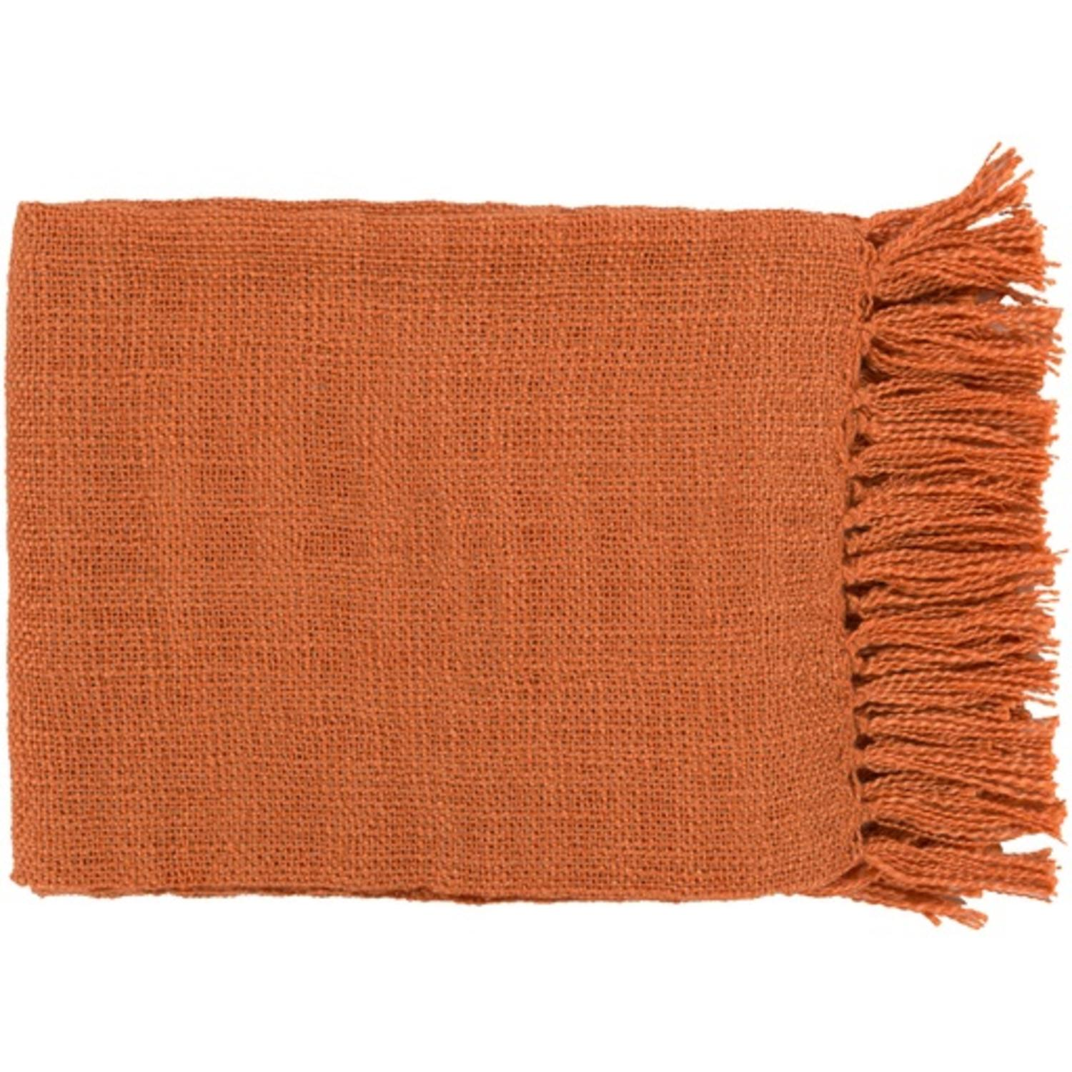 "59"" x 51"" Warm Weaves Burnt Orange Fringed Throw Blanket"