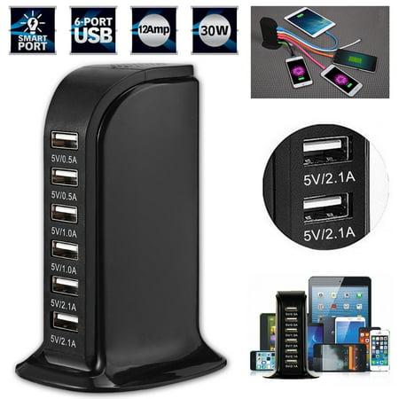 (USB Charging Station Hub,EEEKit Smart IC Tech 6A 30W 6 Port USB Wall Charger Desktop Charging Multi Ports Rapid Adapter for Cellphones iPad Camera)