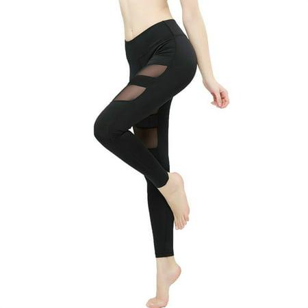 2a99f313b8424 KNIT&LOVE - KNIT&LOVE Yoga Pants Mesh Leggings High Waist Tummy ...