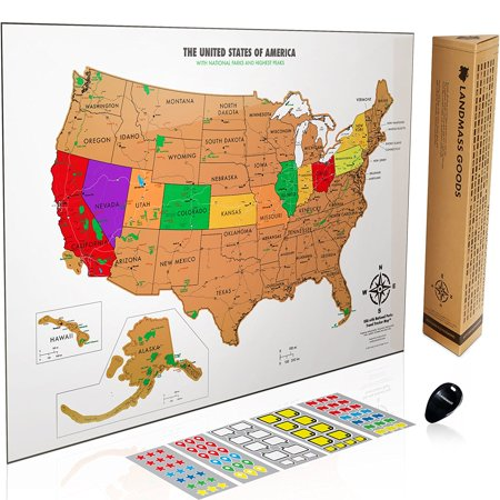 Scratch off USA Map with National Parks - Travel Tracker Map 17x24 ...