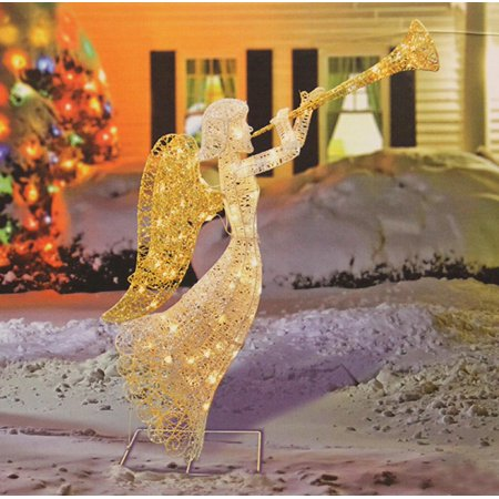48 glittered trumpeting angel lighted christmas yard art decoration