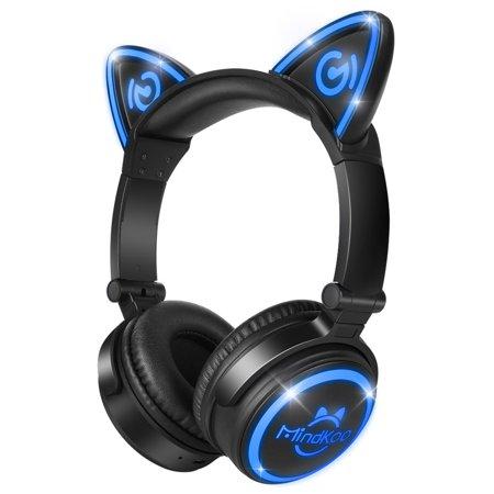 154dbd0c636 MindKoo Unicat MH-6 Kids Headphones Cat Ear Bluetooth V4.2 Headsets On-Ear  Earphones wtih Mic Foldable Gaming Headsets - Walmart.com