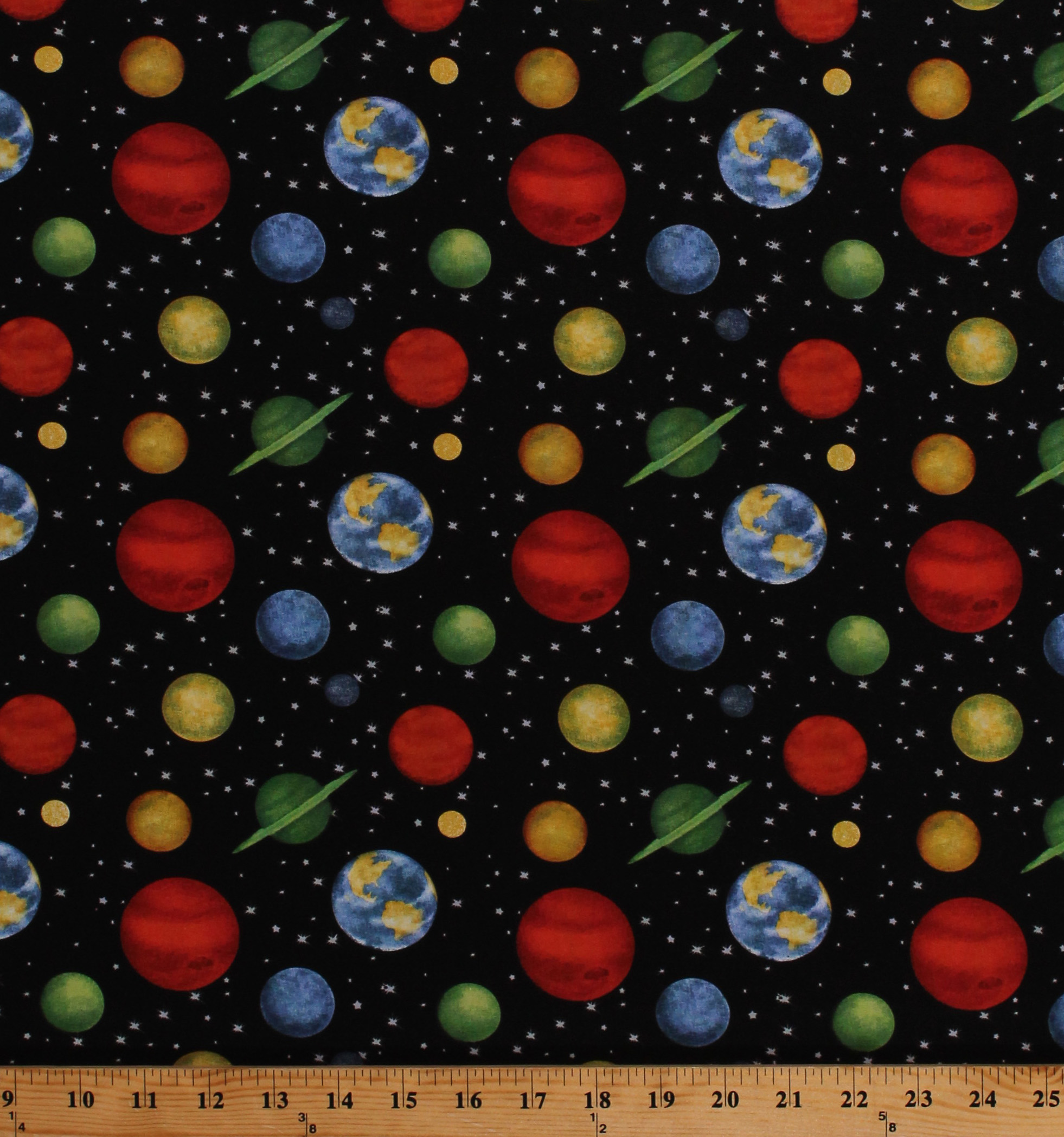 Planets Cotton Fabric by the Yard
