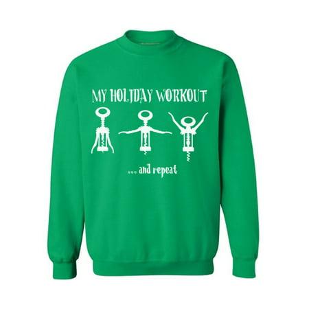 Awkward Styles My Holiday Workout Sweater Christmas Sweatshirt Open Wine and Repeat Christmas Sweater Wine Christmas Sweatshirt for Men and for Women Funny Christmas Holiday Sweatshirt Wine Party