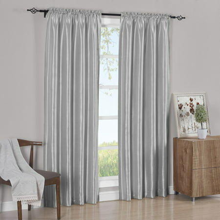 Pair Rod Pocket Soho Faux Silk Curtain Panels (Set of 2 Panels)- Silver - 42x84