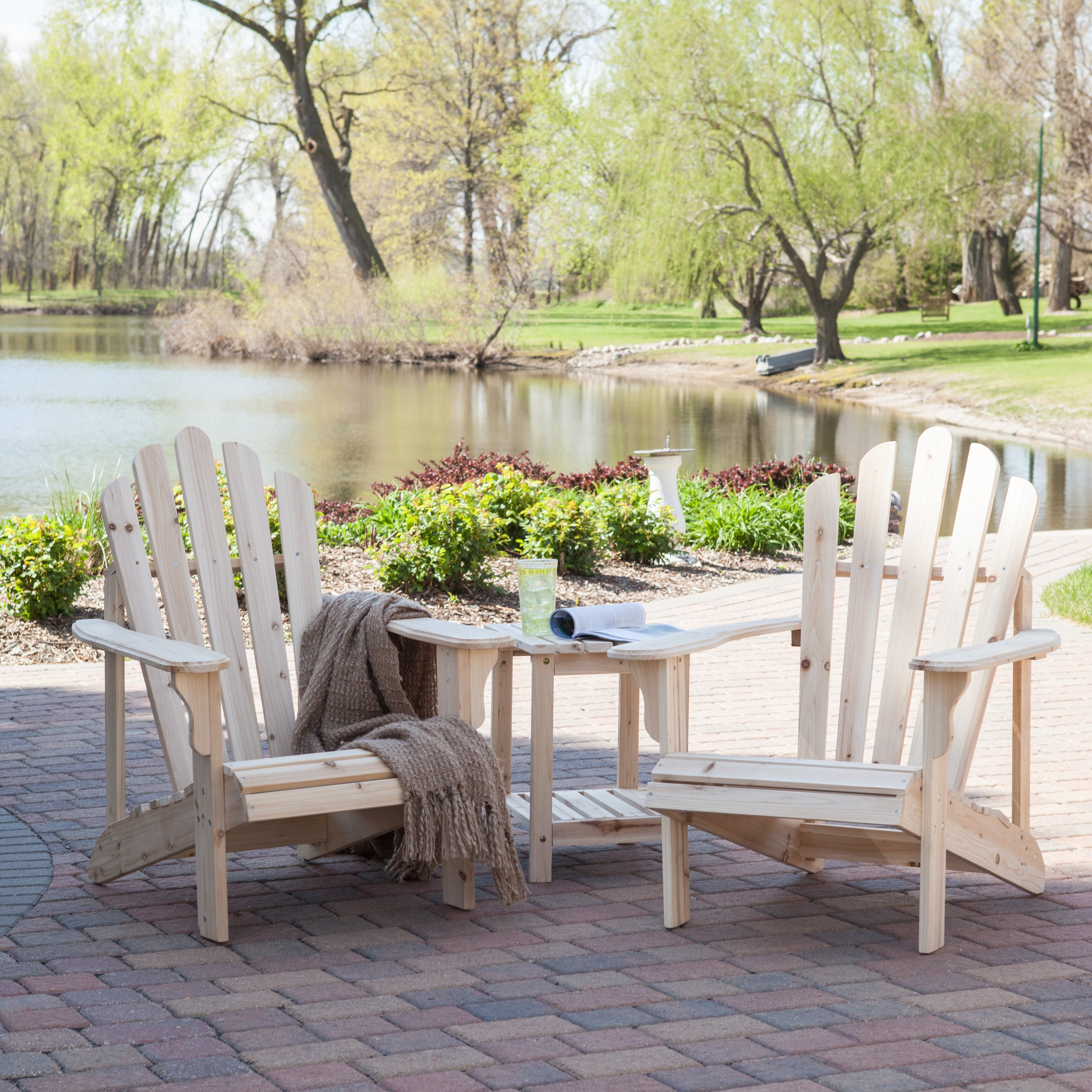 Coral Coast Hubbard Adirondack 2 Chair Set With FREE Side Table    Unfinished   Walmart.com