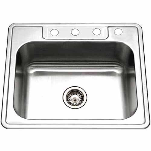 Houzer 2522-8BS4-1 Glowtone Series Topmount Stainless Steel Single Bowl Kitchen Sink