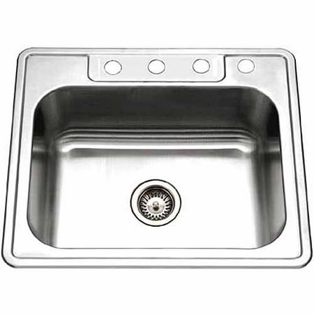 Houzer 2522-8BS4-1 Glowtone Series Topmount Stainless Steel 4-holes Single Bowl Kitchen Sink, 8-Inch Deep