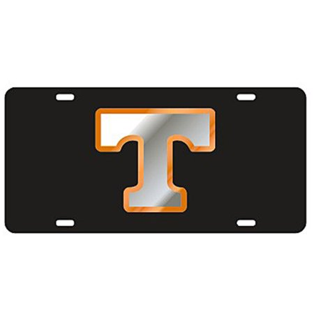 """Tennessee Volunteers Black Laser Cut License Plate - Mirror & Orange """"T"""""""