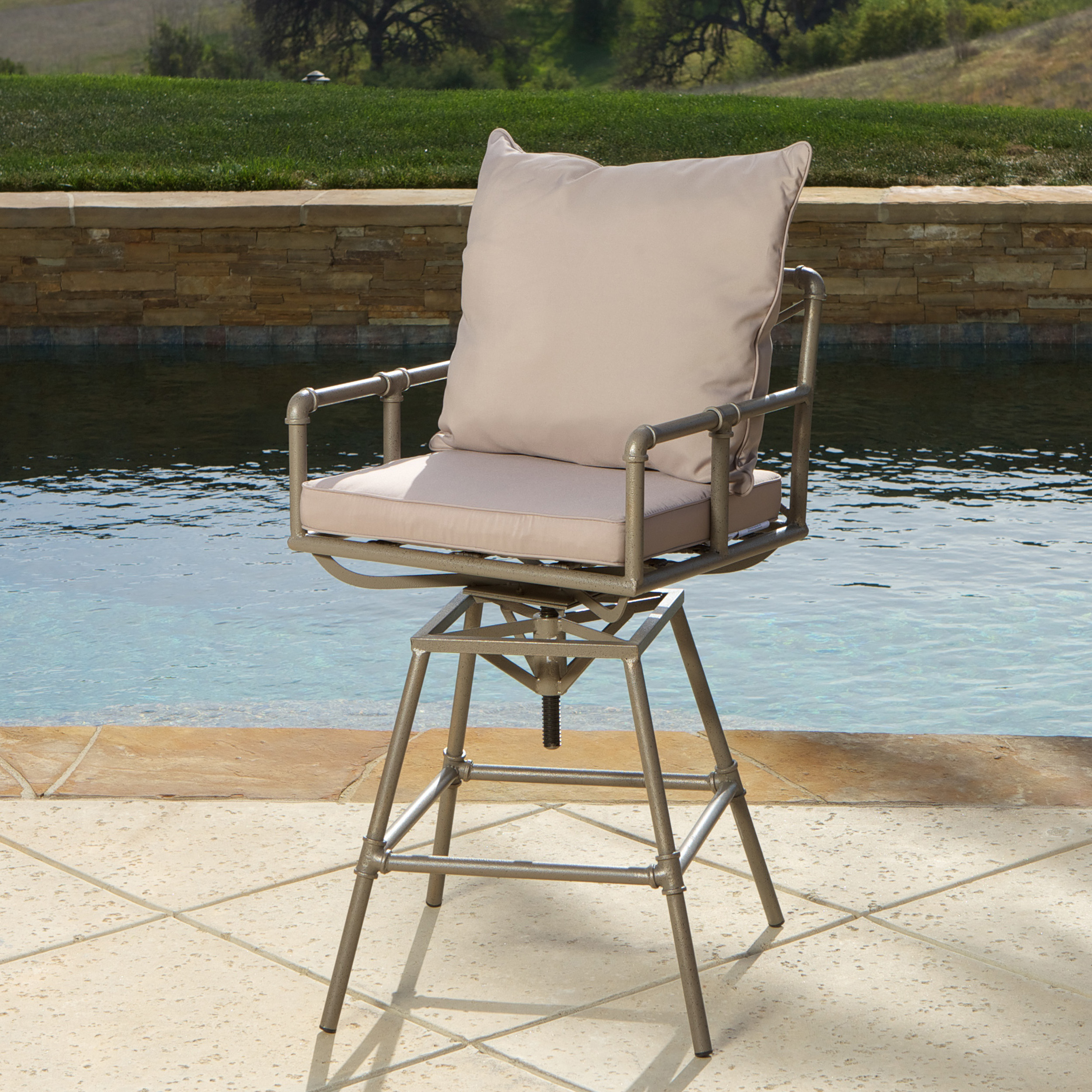Hatteras Outdoor Adjustable Barstool, Gray and Brass