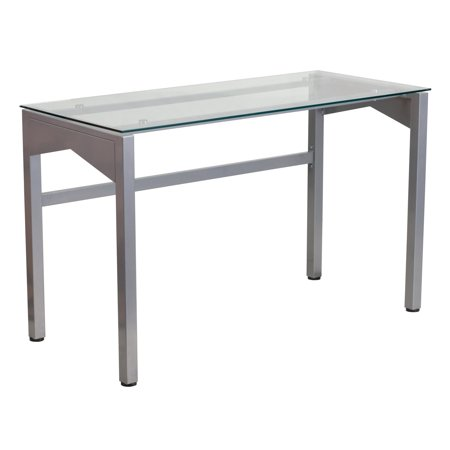 Flash Furniture Contemporary Desk with Clear Tempered Glass Top ()
